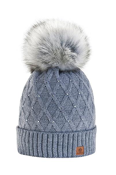 Morefaz - Gorro de invierno de forro polar para mujer con cristales y  pompón multicolor Gris M L  Amazon.es  Juguetes y juegos 84a63a476fc