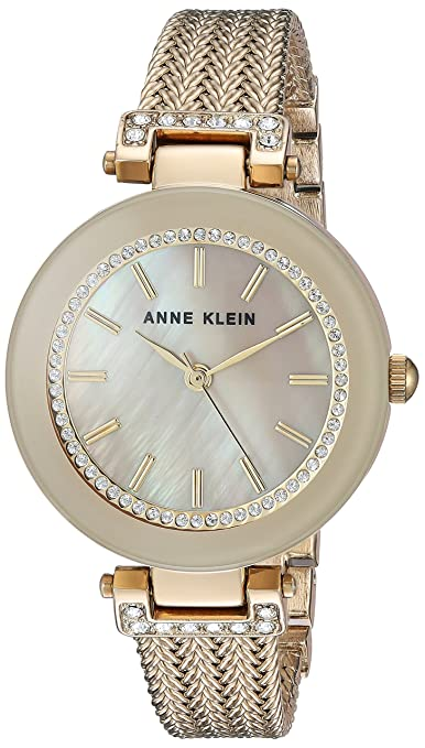 Amazon.com: Anne Klein Womens AK/1907BNTT Swarovski Crystal Accented Gold-Tone and Light Brown Mesh Bracelet Watch: Watches