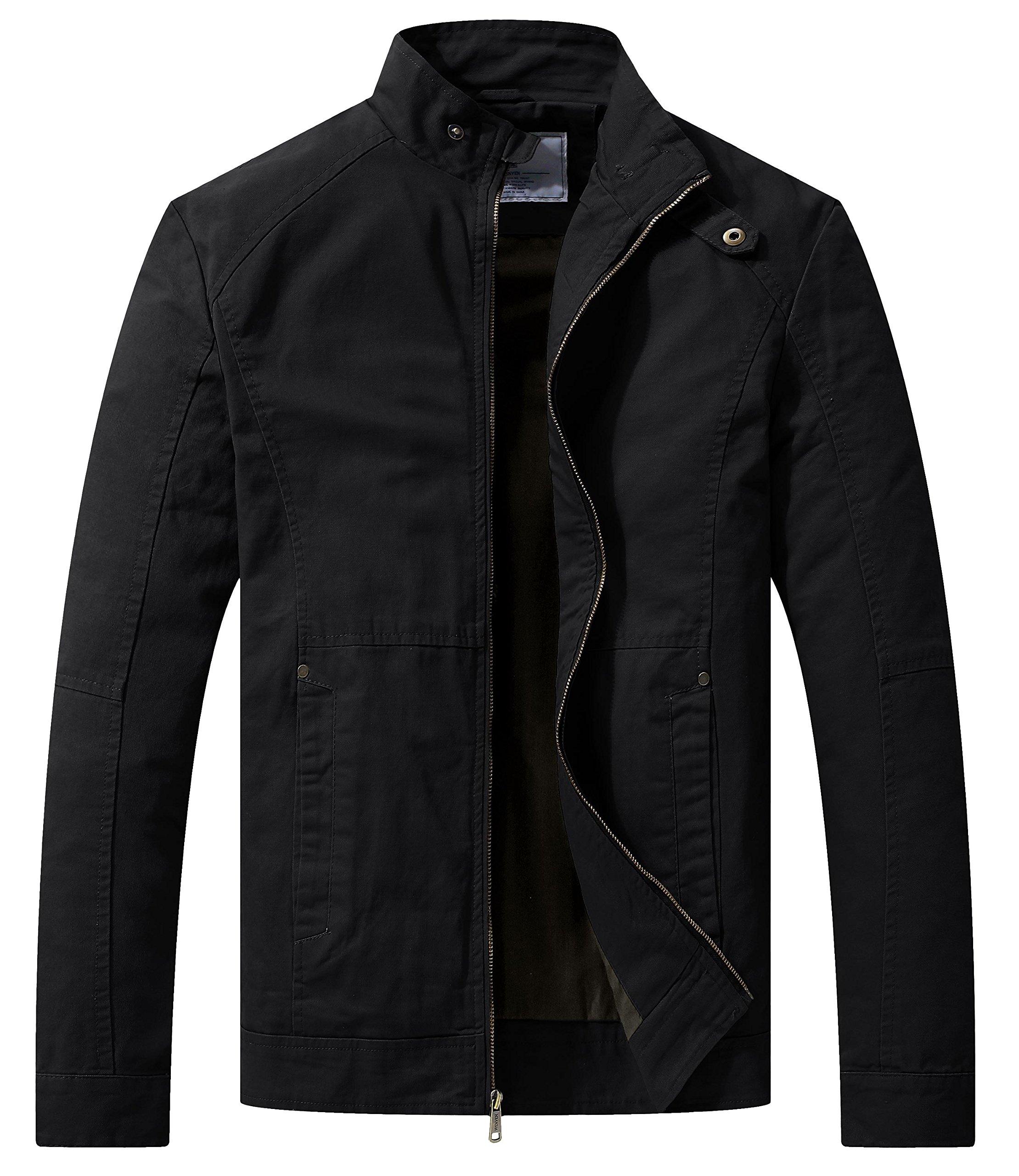 WenVen Men's Spring Casual Lightweight Full Zip Military Jacket(Black,Medium)