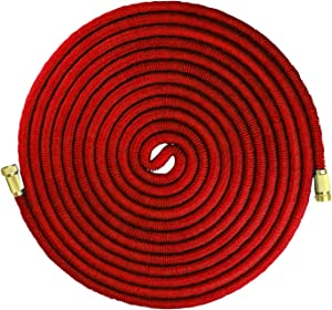 Emsco Group 1545-100 Grade Expandable Hose with Spray Nozzle, 100', Red