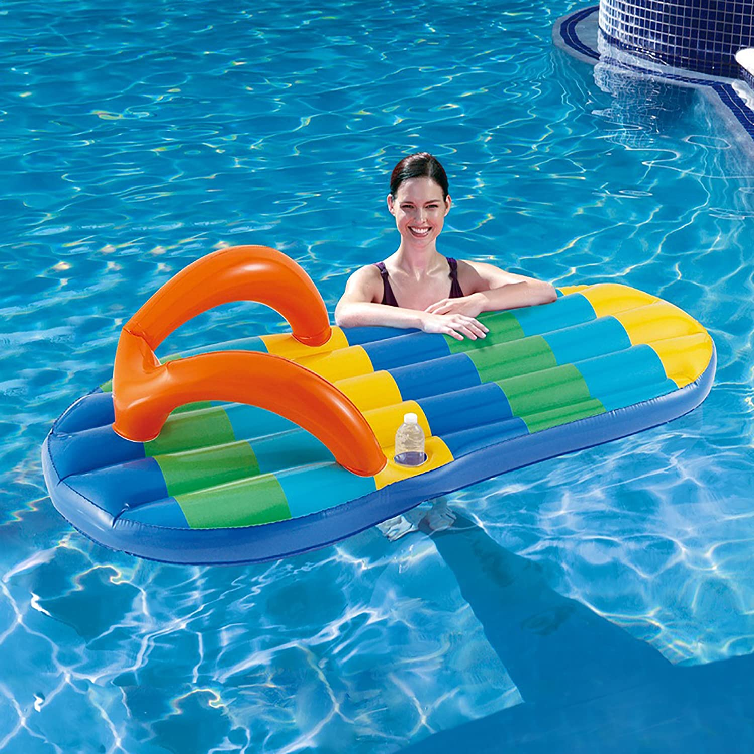 Amazon Blue Wave Beach Striped Flip Flop 71 Inch Inflatable