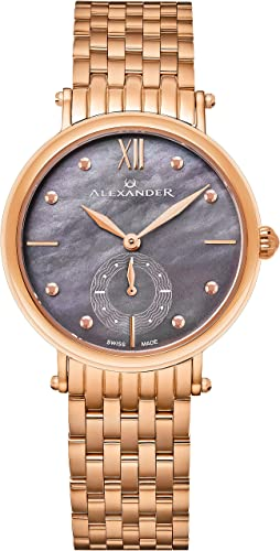 Amazon Com Alexander Monarch Roxana Gray Mother Of Pearl Large Face Stainless Steel Plated Rose Gold Watch For Women Swiss Quartz Elegant Ladies Fashion Designer Dress Watch A201b 04 Alexander Watches
