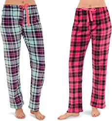 Totally Pink Women s Warm and Cozy Plush Pajama Bottoms Lounge Pants Signal  and Two Pack c55e4ee66