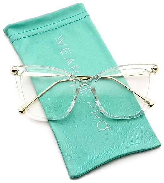 8a46c81969 WearMe Pro - New Elegant Oversized Clear Cat Eye Non-Prescription Glasses ( Clear Frame