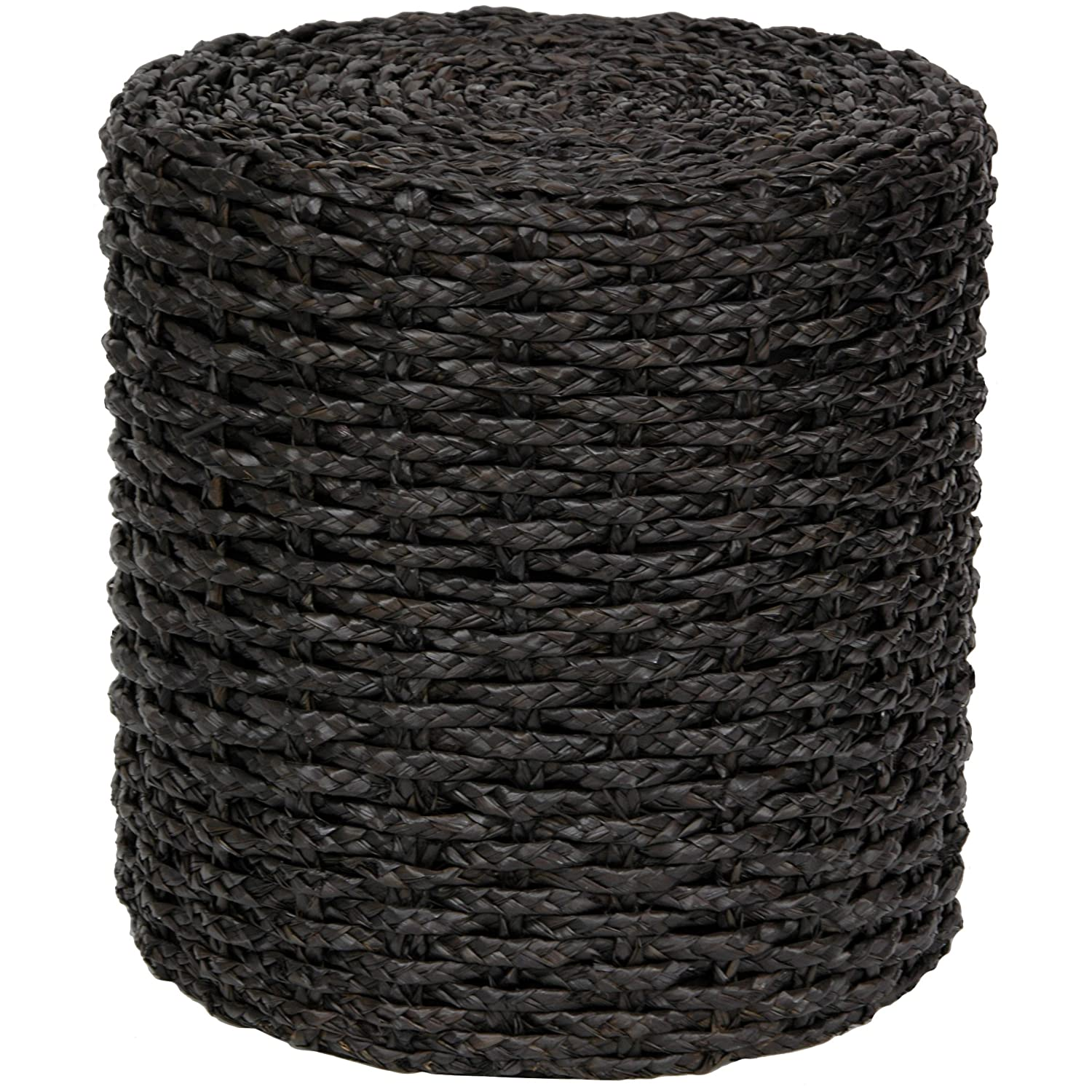 Oriental Furniture Rush Grass Knotwork Stool – Black