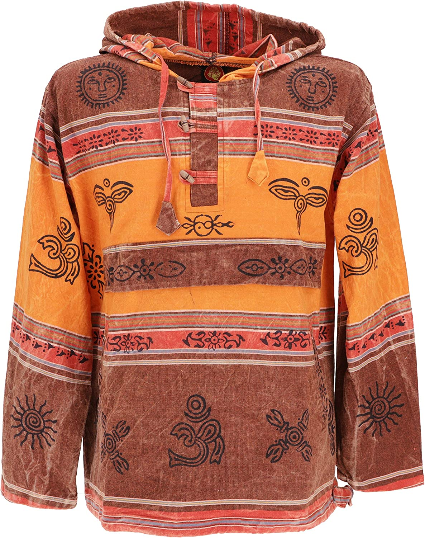 TALLA M. GURU-SHOP, Camisa con Capucha Goa, Sudadera con Capucha Baja Nepalhoodie, Algodón, Sudaderas Sudaderas con Capucha
