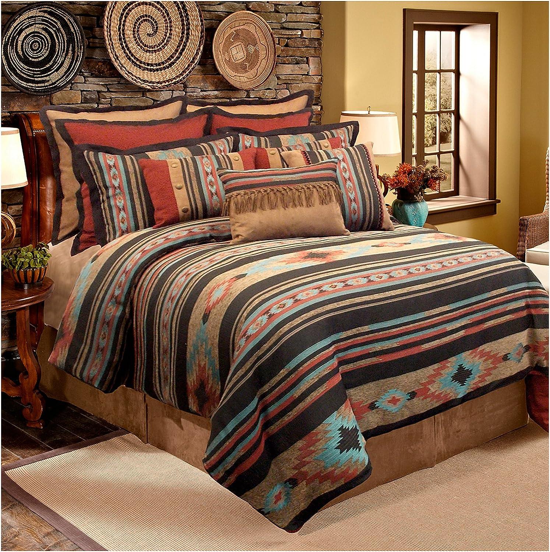 Amazon Com Veratex Santa Fe Collection 100 Polyester Bedroom Comforter Set Full Size Southwestern Home Kitchen