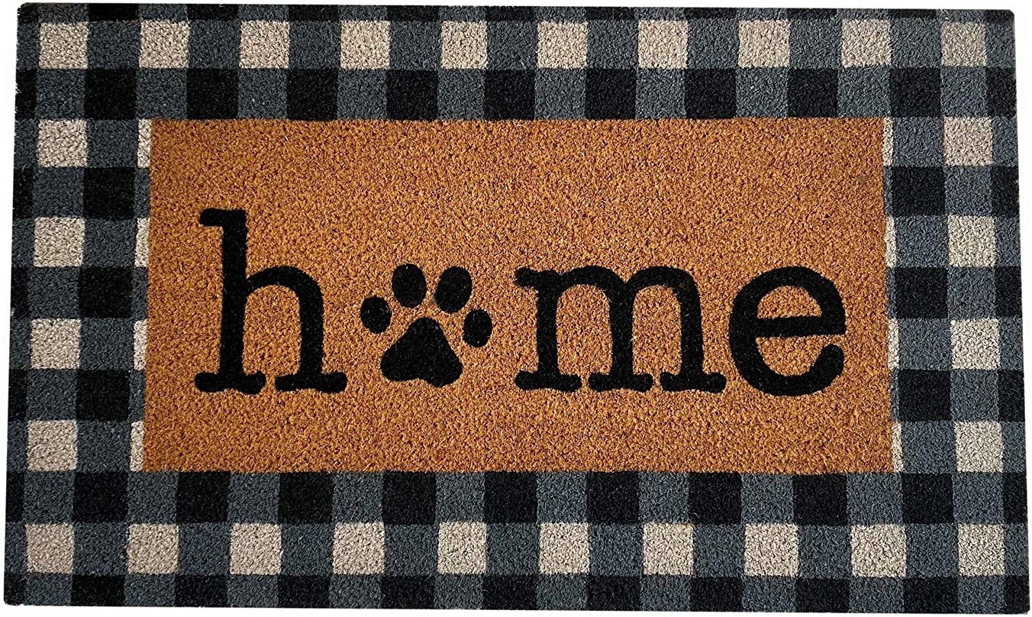 Elrene Home Fashions Farmhouse Living Pet Paw Print Home Buffalo Check Coir Indoor Welcome Mat Outdoor Rug Doormat for Entryway/Front Door/Porch, 18