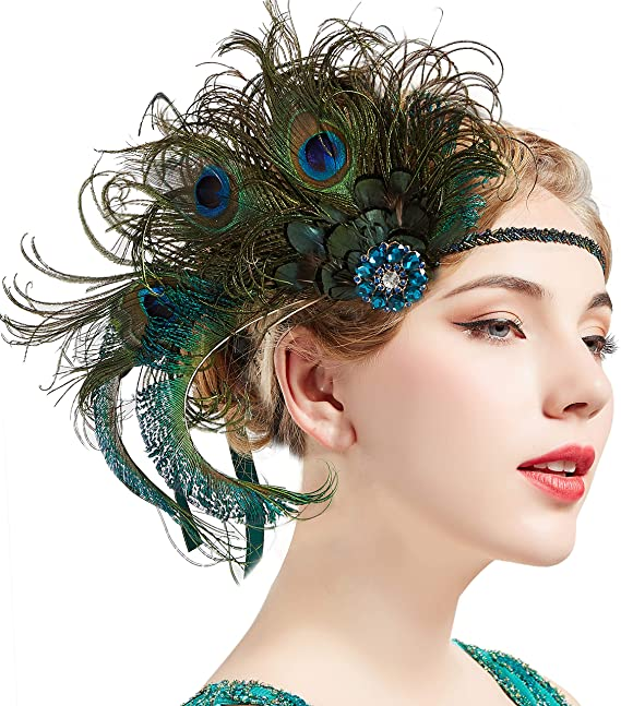 1920s Headband, Headpiece & Hair Accessory Styles UK - ArtiDeco 1920s Headpiece Vintage 1920s Flapper Headband Peacock Feather Crystal Beaded Headband Great Gatsby Costume Accessories Roaring 20s Accessories (Peacock)(Size: One Size) £13.99 AT vintagedancer.com