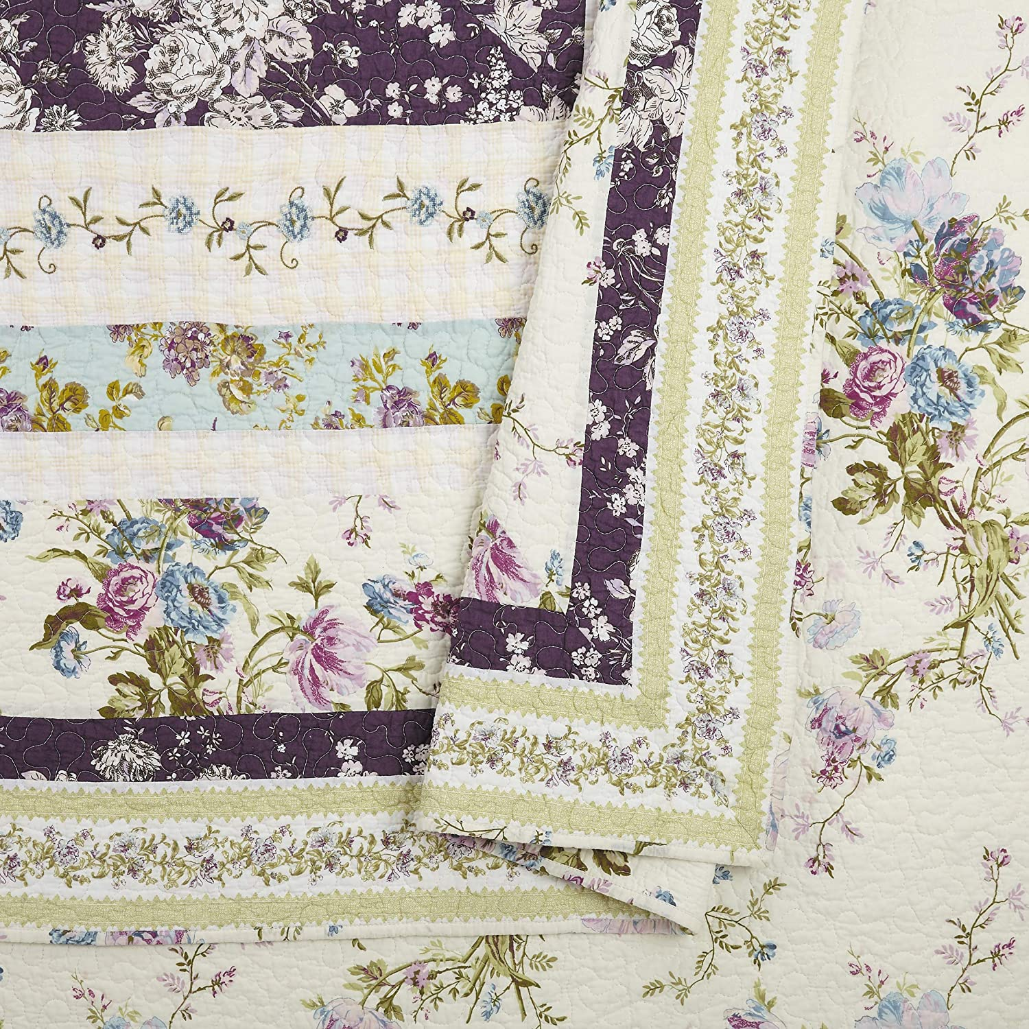 Purple Full Queen Mary Janes Home Collected Wildflowers Quilt