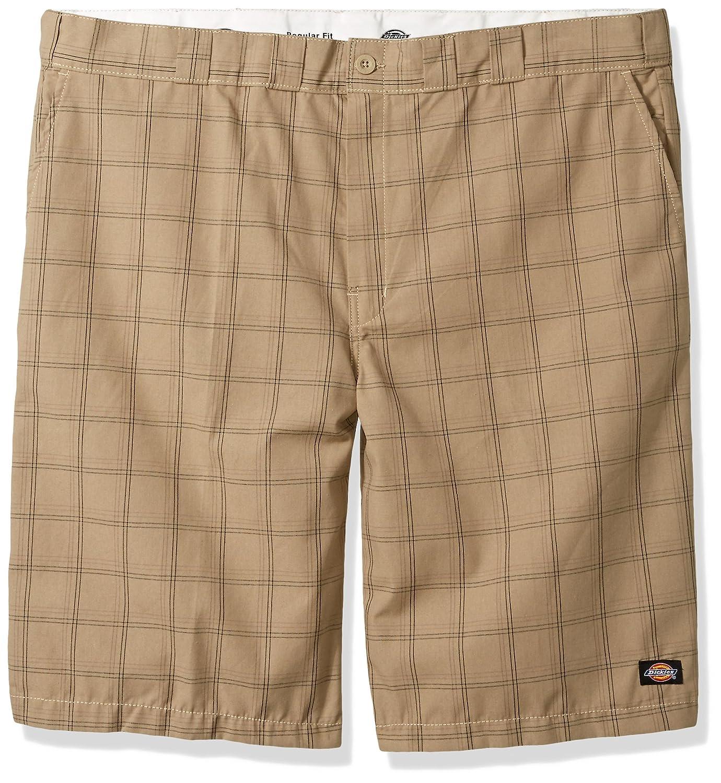 Dickiesメンズ13 Regular Fit Plaid Short Big B01N1PF235  Desert Sand/Pebble Brown Plaid 46
