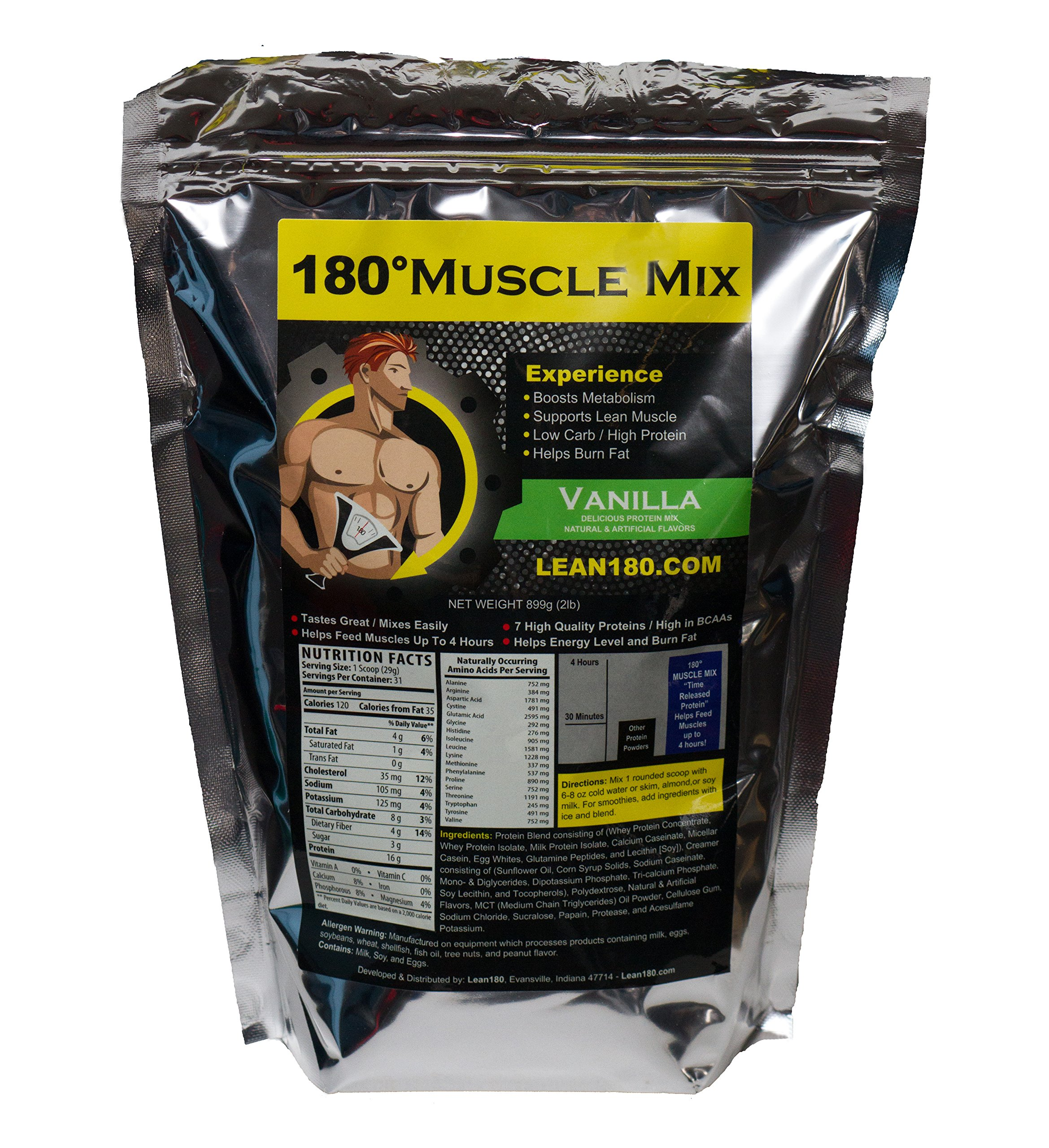 Lean 180 Muscle Mix, Best Weight Loss Protein Shake for Men, Burns Fat, Helps Build Muscle, Boosts Energy, Tastes Great, 31 Shakes per Bag (Vanilla)