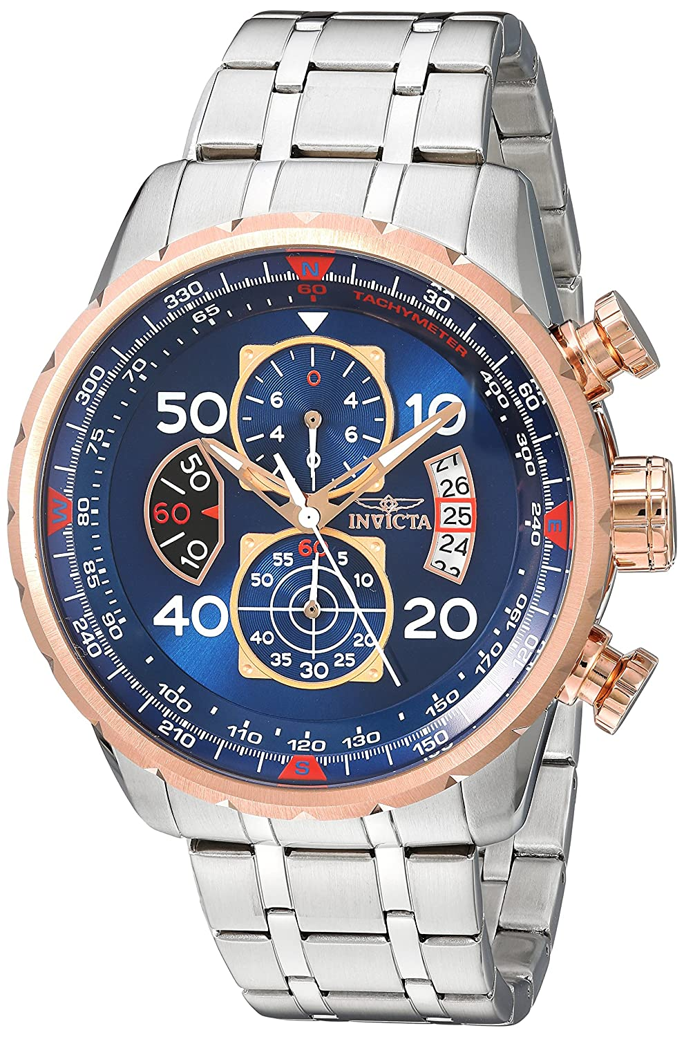 Invicta Men s 17203 AVIATOR Stainless Steel and 18k Rose Gold Ion-Plated Watch