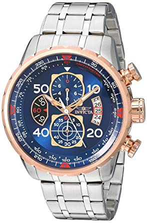 7c146ecebde Amazon.com  Invicta Men s 17203 AVIATOR Stainless Steel and 18k Rose ...