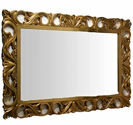 Espejo Espejo Marco Madera Tallada Oro Made in Italy entrada salón ...