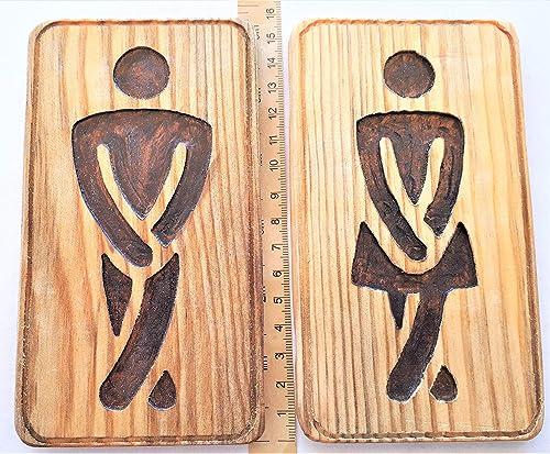 WC Baño Cartel Placa pictograma madera reciclada Restroom ...