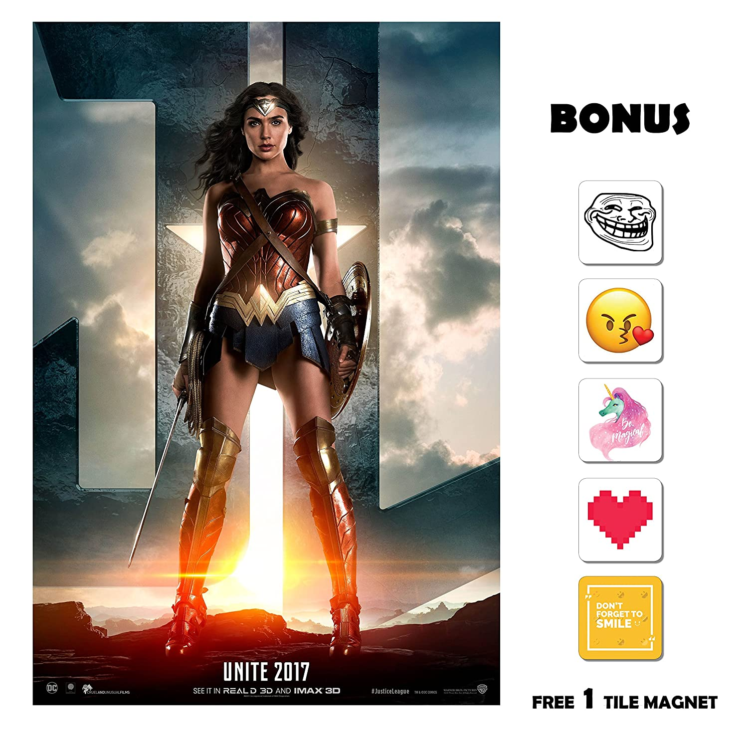 Justice League (2017) - Wonder Woman - 13 in x 19 in Movie Poster Flyer BORDERLESS + Free 1 Tile Magnet