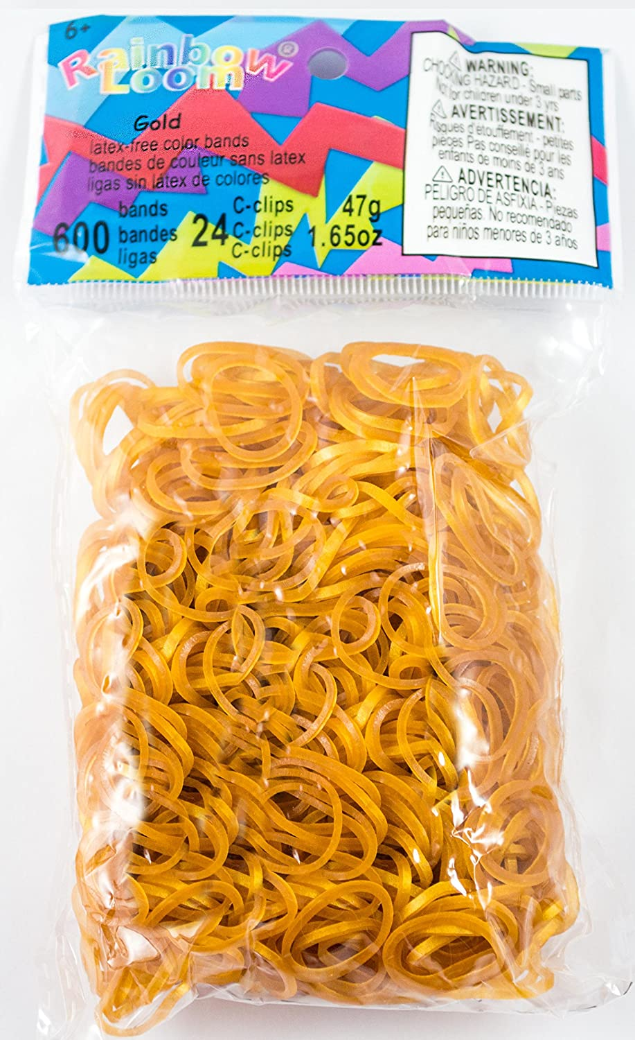 RAINBOW LOOM Gold Rubber Bands with 24 C-Clips (600 Count) B0101