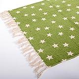 DESIGN DELIGHTS Dekorativer LÄUFER STERNENWIESE | grün mit Vielen Sternen, 65x135 cm | Vorleger, Teppich, Sterne