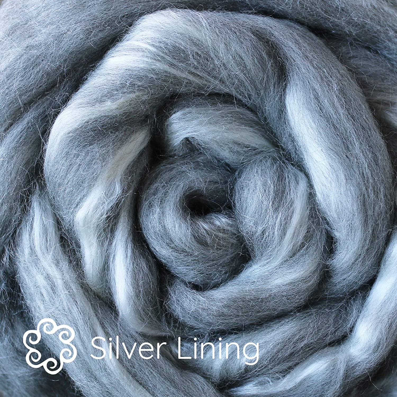 Soap Making Needle Felting Wet Felting Nuno Felting Paper Making and Embellishments Silk Merino Fiber for Spinning Silver Lining Super Soft Combed Top Wool Roving for Hand Spinning