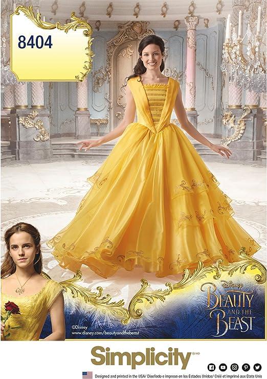 Simplicity 8404 Disney - Disfraz de Bella y la Bestia para Mujer ...