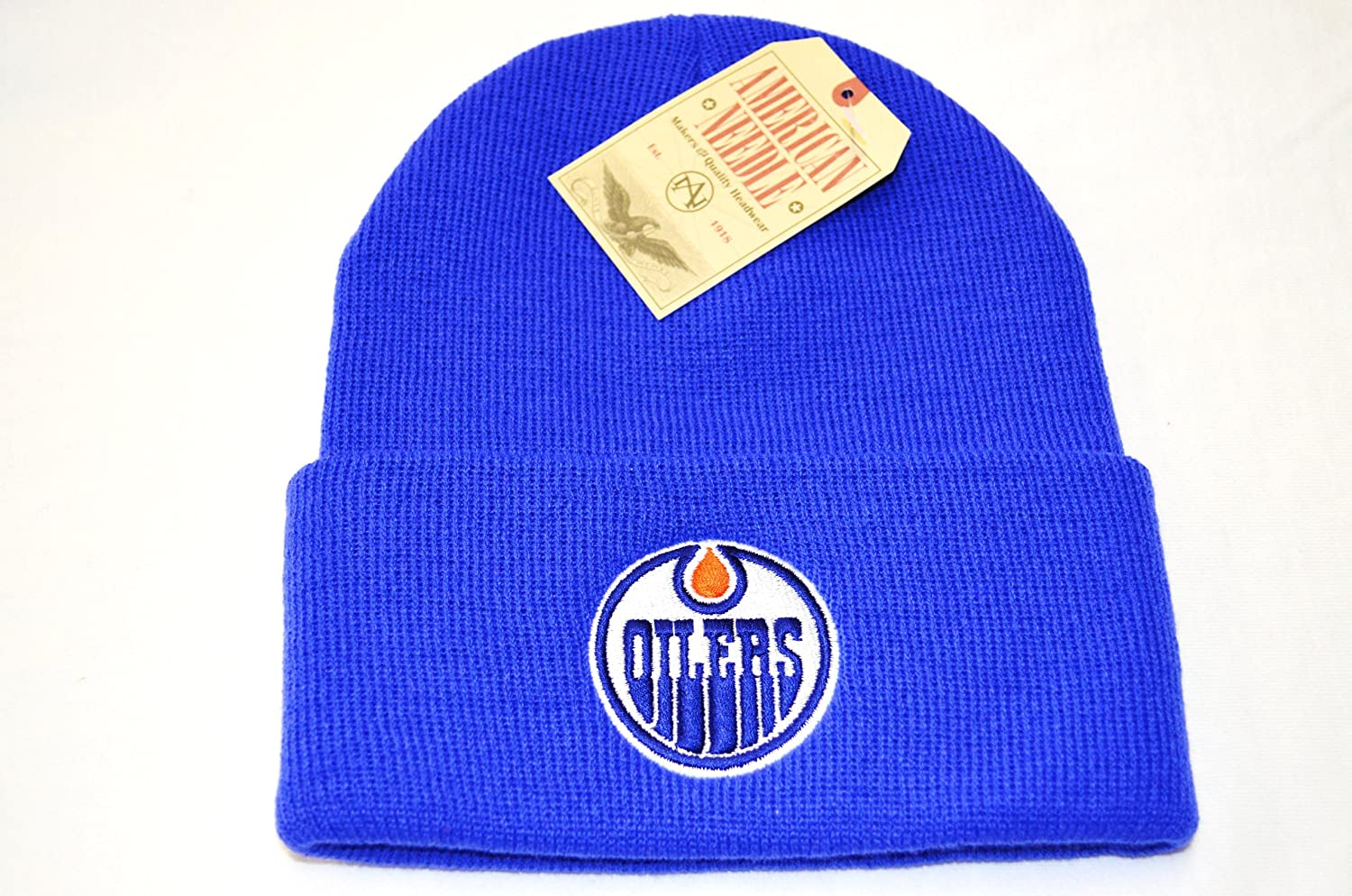 46496e53119 ... france amazon edmonton oilers cuffed beanie knit hat blue sports fan beanies  sports outdoors a751c da7b9