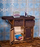 YATAI Solid Wood Iron Board with Shelves and Storage Boxes - Multi-Function Heat Resistant Home Folding Durable Woven…