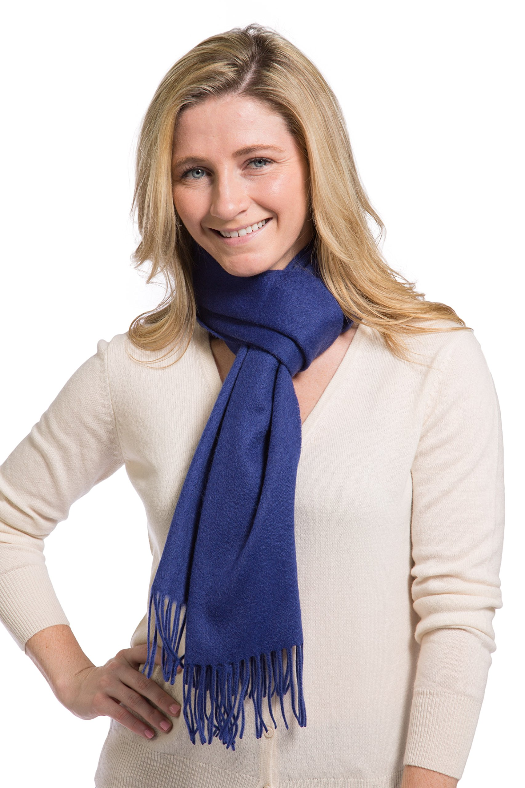 Fishers Finery Women's 100% Pure Cashmere Scarf; Super Soft (Royal Blue)