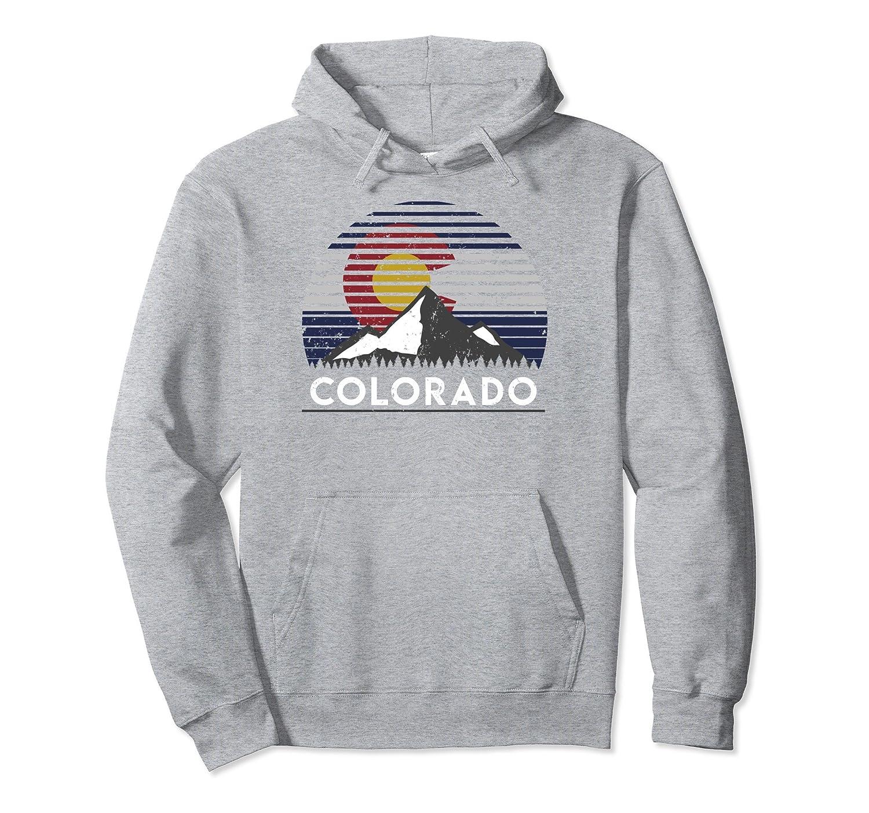 Colorado Flag Mountain Top Pullover Hoodie Sweatshirt-Bawle