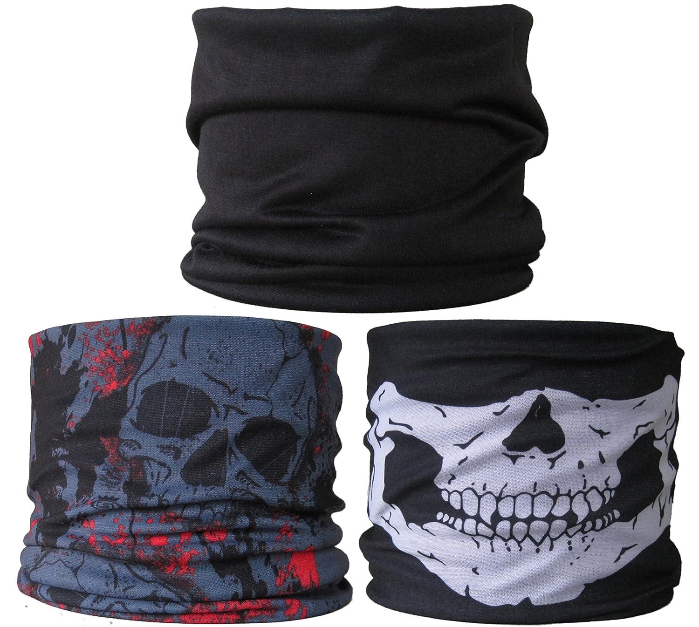 (3Pack) Multifunktionstuch... Uni Schwarz/Grau Skulls + Rot/Totenkopf Kiefer 3er Pack) Halsrohr