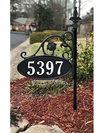 05bdf3ce4e18 Yard Sign Address Plaque with Highway-Grade Reflective Vinyl House Numbers  Wrought Iron Look,