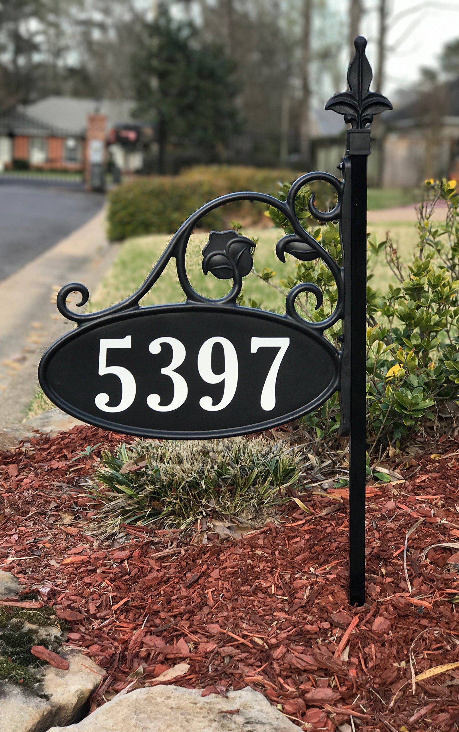 Yard Sign Address Plaque with Highway-Grade Reflective Vinyl House Numbers Wrought Iron Look, Oval, Black, Double Sided House Plate, 911 Visibility Signage, Elegantly Handcrafted in USA, 30'' Pole