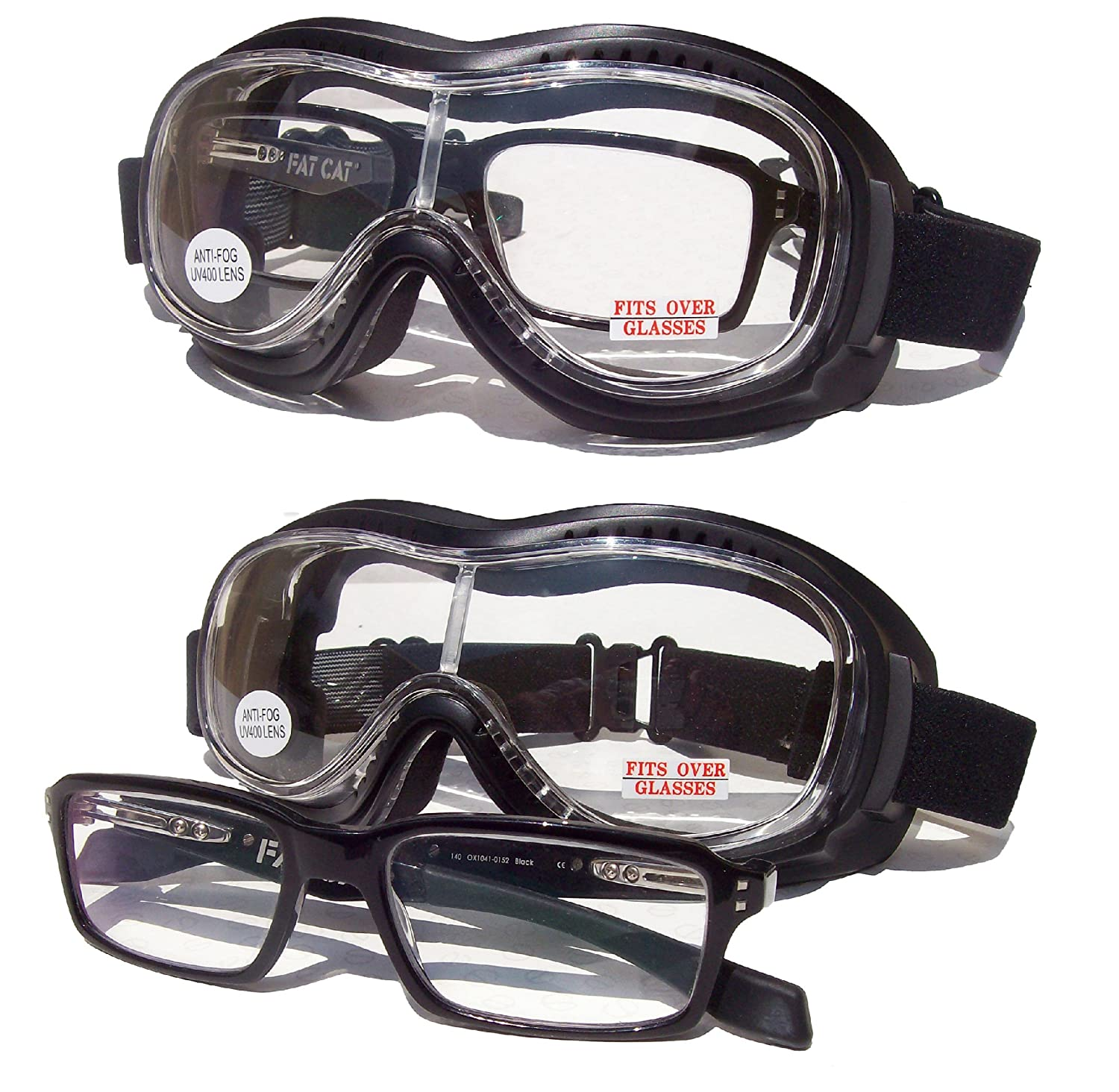 Motorcycle Biker Riding Goggles Clear Lens Over The Glasses Goliath OTG