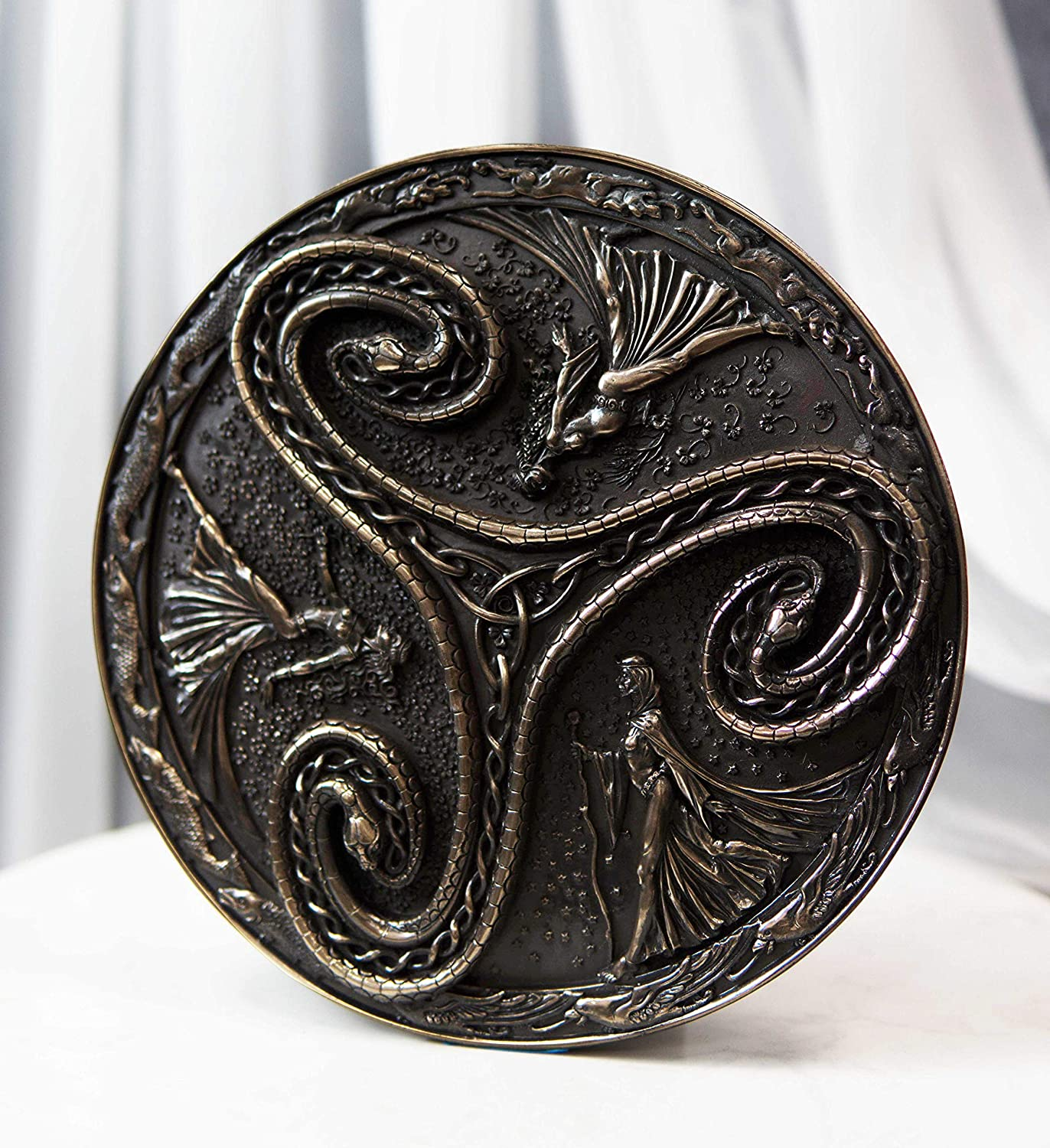 Ebros Gift Pagan Wiccan Triple Goddess Triskele Spiral Serpent In Rune Circle Wall Plaque Decor Celtic Trinity Knotwork Maiden Mother Crone Symbol Of Feminism Home Kitchen
