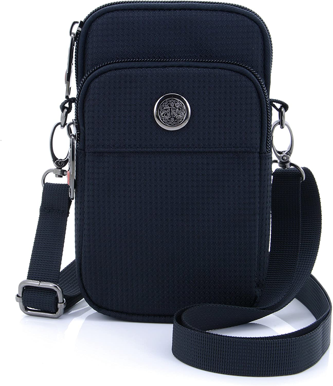 """U-TIMES Casual Water Resistant Oxford Waist Wallet Bag 6"""" Crossbody Shoulder Phone Pouch(Black)"""