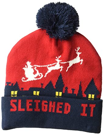 Amazon.com  Wembley Men s Holiday Christmas Light Up or Sound Beanie Hat  with Pompom 7af9ab04b29