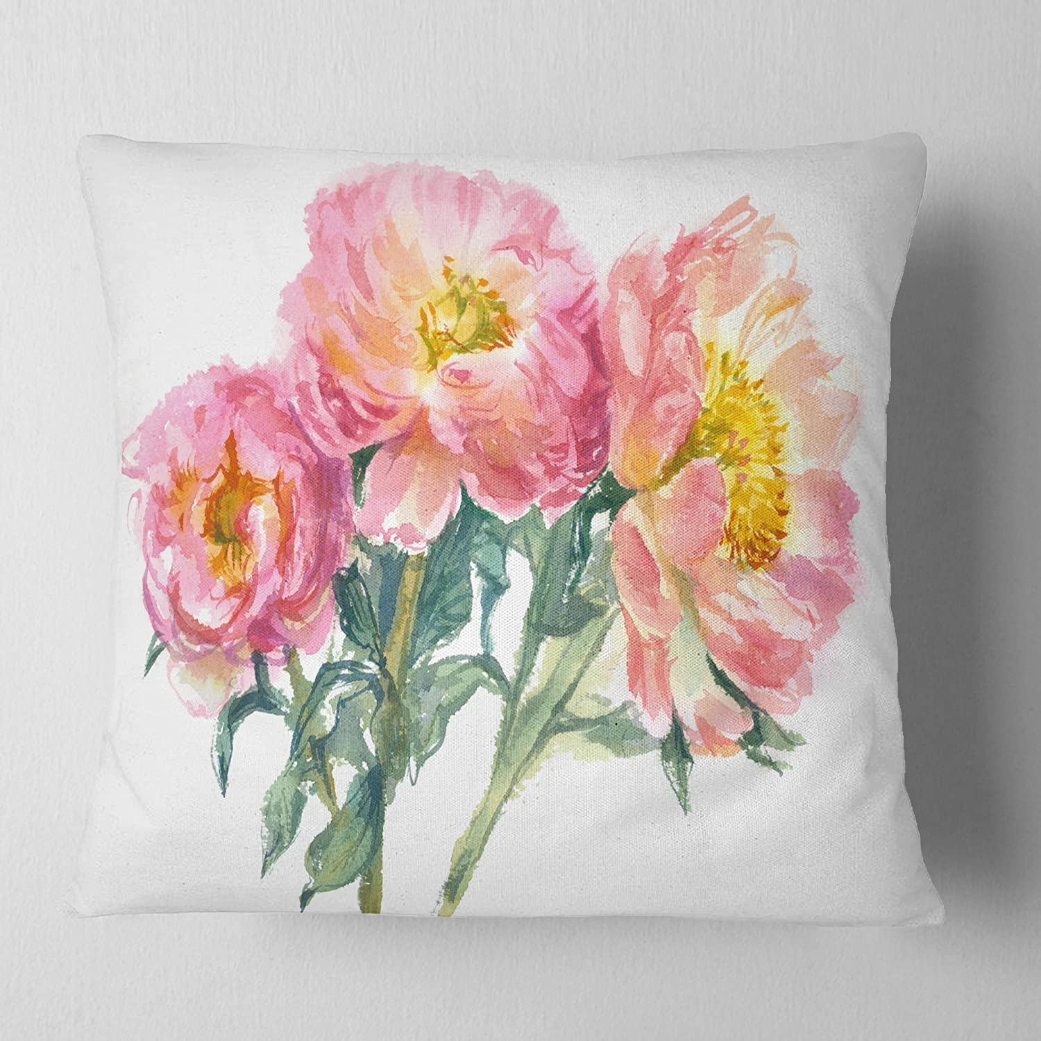 Designart CU13856-18-18 Bouquet of Pink Peony Watercolor' Flower Cushion Cover for Living Room, Sofa Throw Pillow 18 in. x 18 in. in