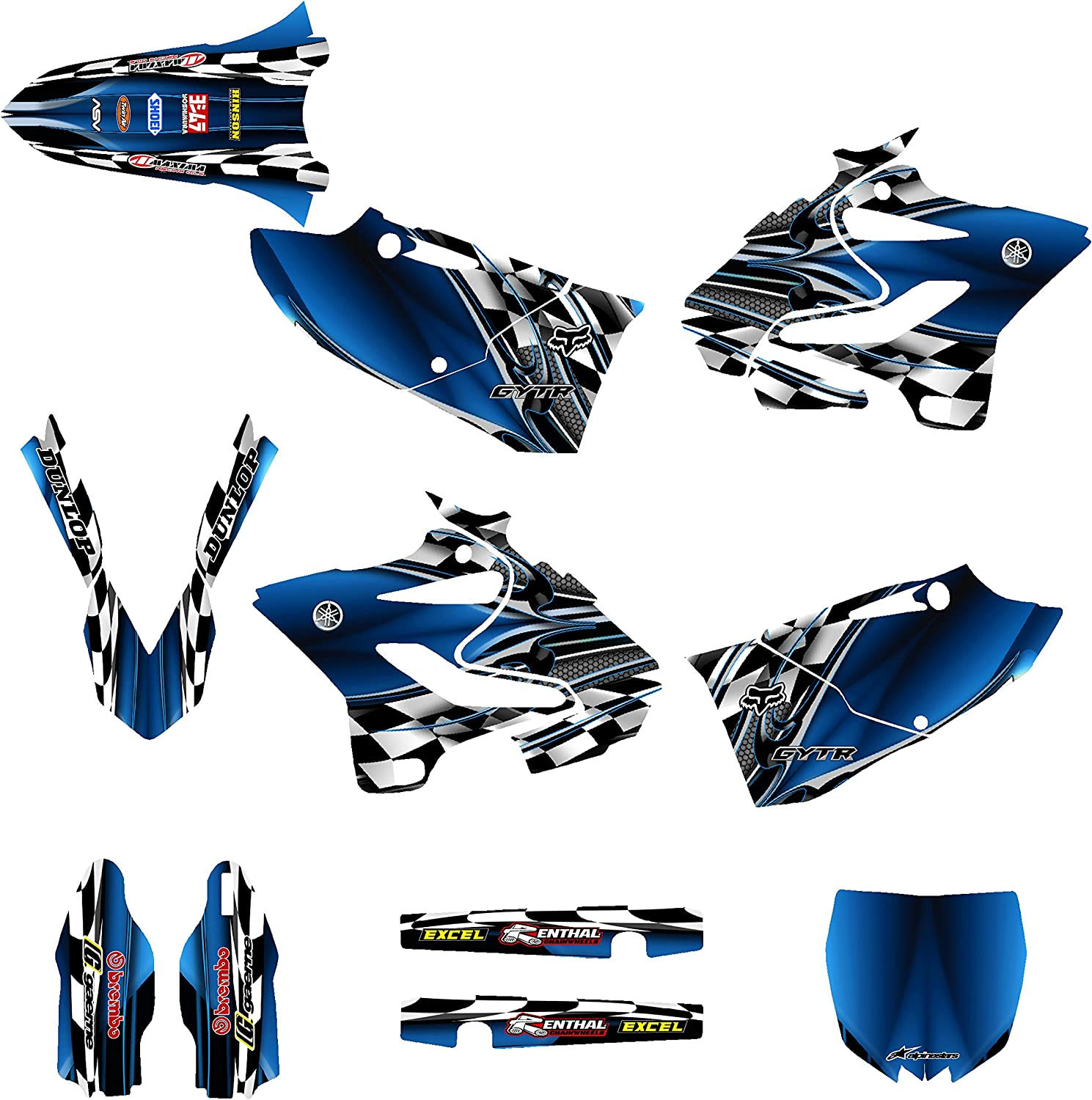 Yamaha YZ125 YZ250 2015 Dirt Bike Graphics Decal Kit By Allmotorgraphics No2500 Blue