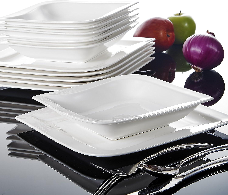 serie Joesfa 12 Platos de Sopa para 12 Personas Vajillass de Porcelana Blanca Crema 24 piezas Juegos de Cena con 12 Platos planos MALACASA