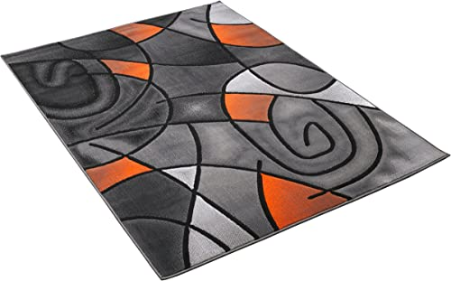 Rugs 4 Less Collection Abstract Contemporary Modern Area Rug, Orange Grey Black Design R4L 860 5 X7