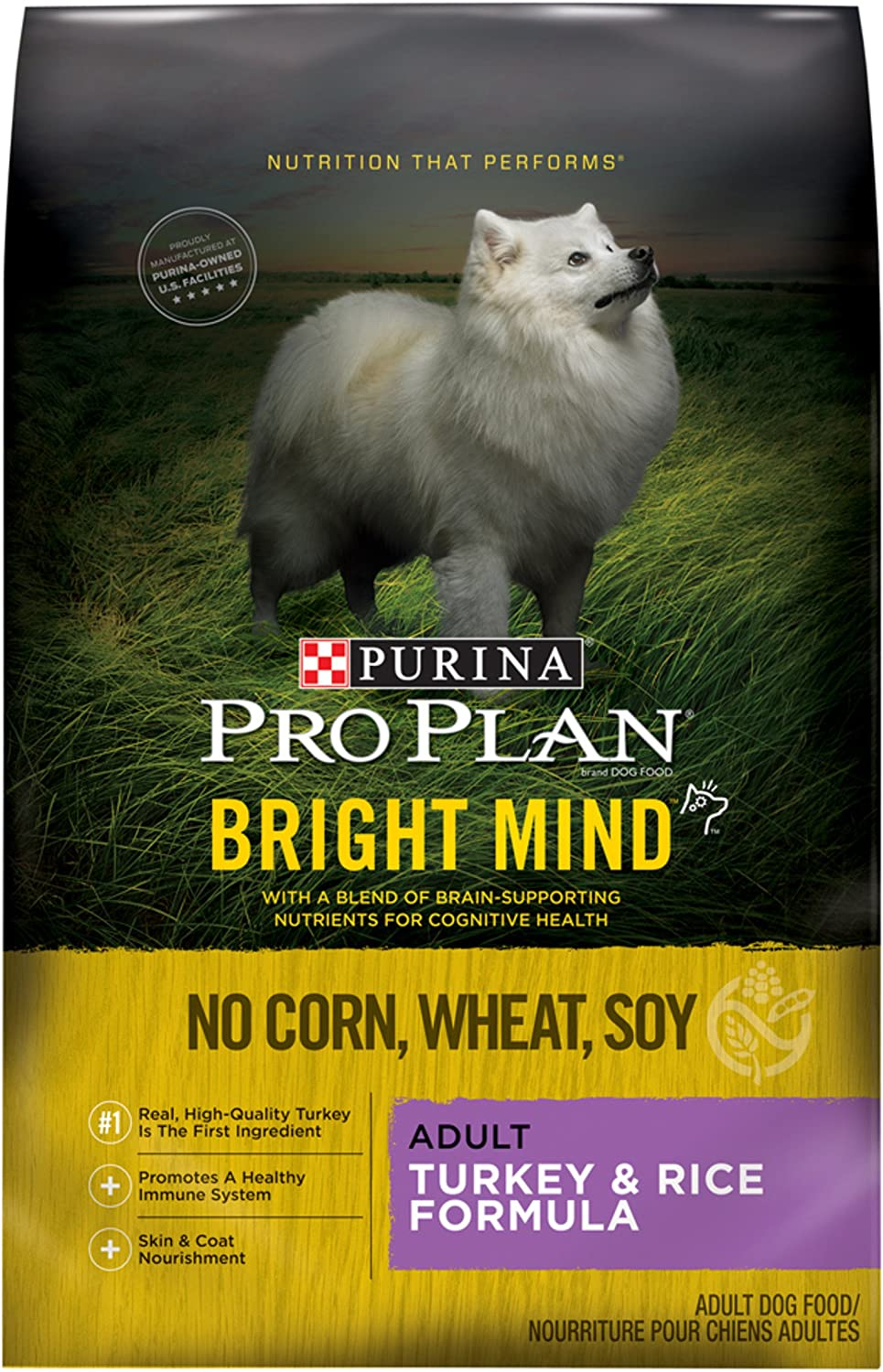 Purina Pro Plan Bright Mind Adult Turkey Rice Formula Adult Dry Food – 1 4 Lb. Bag