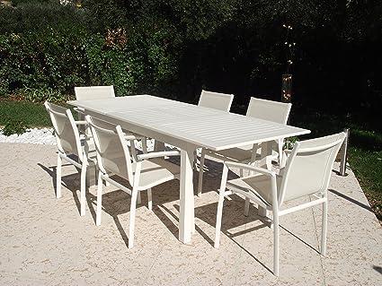 Tavolo allungabile bianco at804035 cuba: amazon.it: giardino e