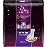 Poise Overnight Incontinence Pads, Ultimate Absorbency, 75% Wider Back, 72 Count