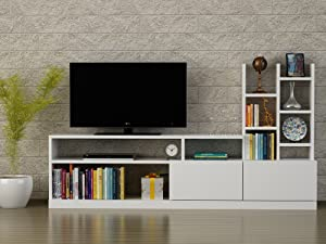 MAKENZA Moon TV Stand Unit Modern Living Room Furniture Compatible for Entertainment Center & Media Console with TV Storage Open Bookshelves and Two Cabinet for Homes & Offices (White)