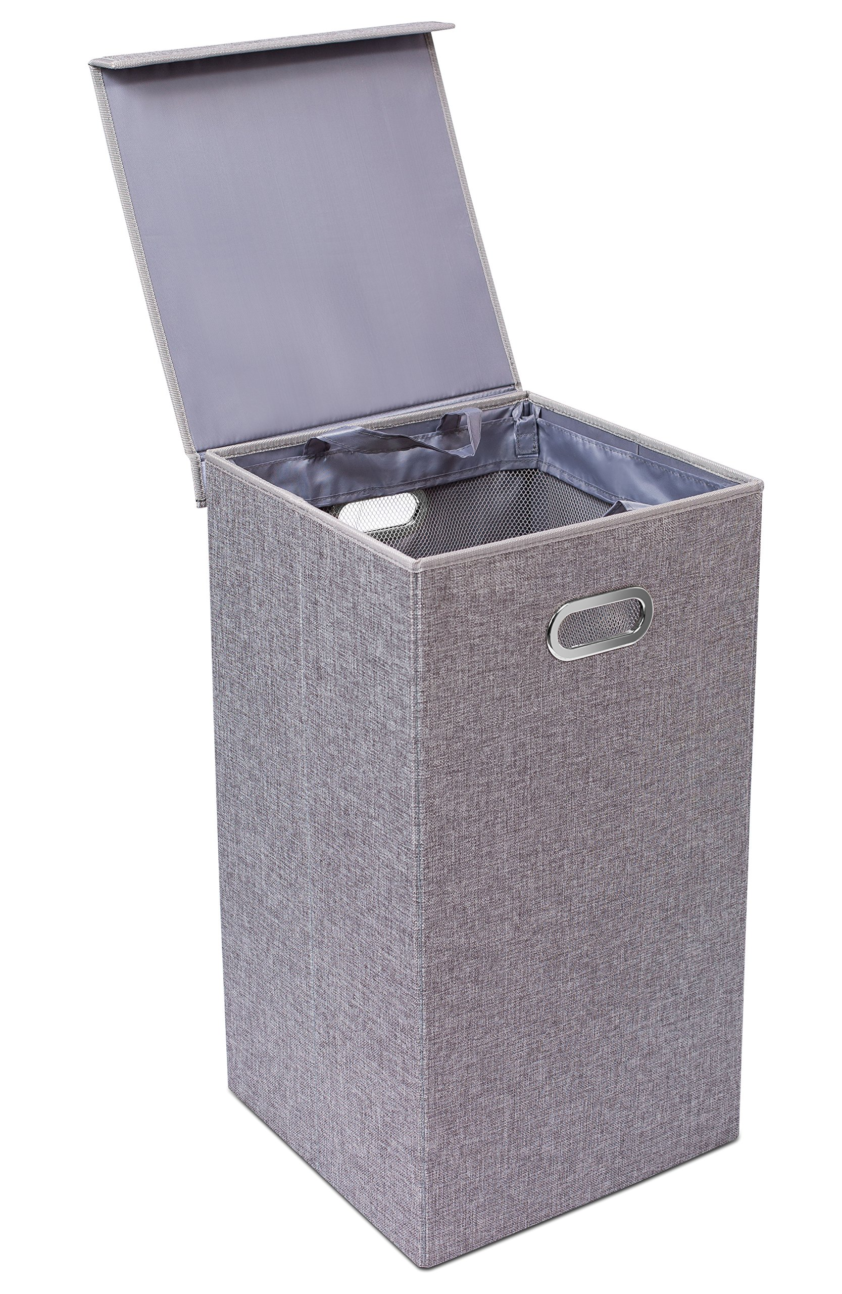 BirdRock Home Single Laundry Hamper with Lid and Removable Liner | Linen | Easily Transport Laundry | Foldable Hamper | Cut Out Handles by BirdRock Home