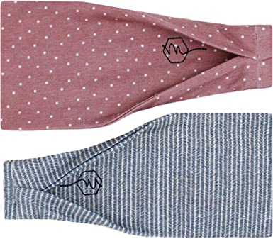 2-Pack Maven Thread Womens No-Slip Sweat-Wicking Headband for Exercise and Yoga 4 Inch Blossom