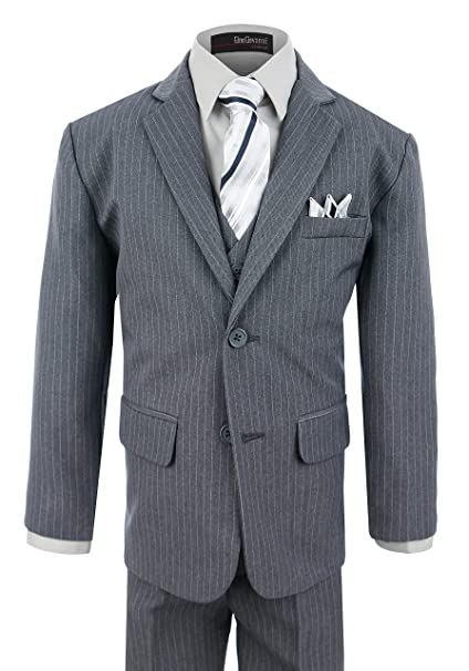 Vintage Style Children's Clothing: Girls, Boys, Baby, Toddler Gino Giovanni Boys Formal 2 Buttons Pinstripe Dresswear Suit Set $49.18 AT vintagedancer.com