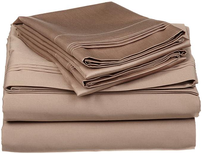 Impressions Superior - Juego de sábanas 152 x 203 cm, esquineras profundas, de algodón de 650 hilos y de un solo cabo, color chocolate liso, ...