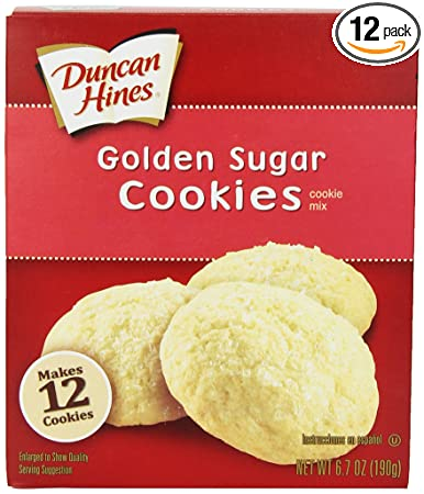 Duncan Hines Snack Cookie Mix, Golden Sugar, 6.7-Ounce (Pack of 12