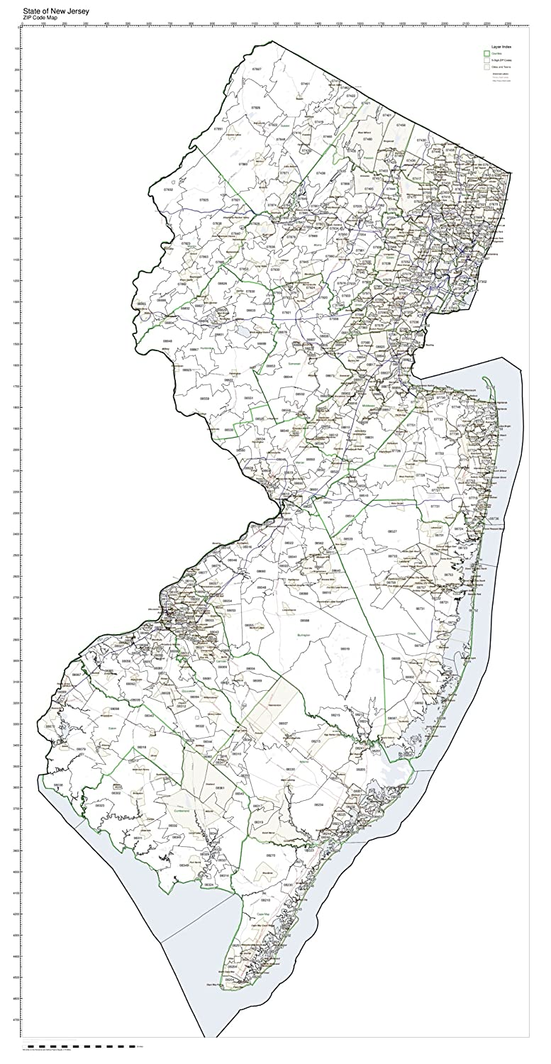 Working Maps Zip Code Map State of New Jersey Laminated